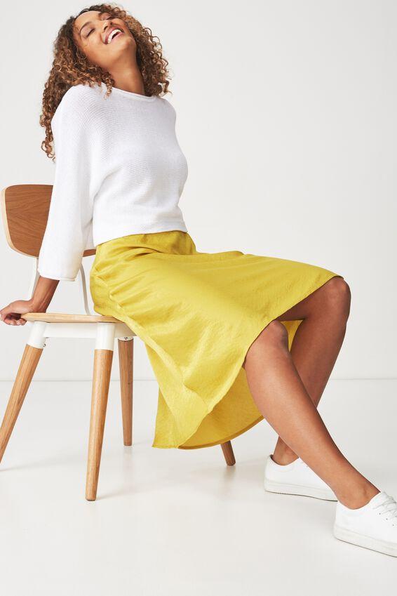 Woven Belle Bias Midi Skirt, ANTIQUE MOSS ELASTICATED
