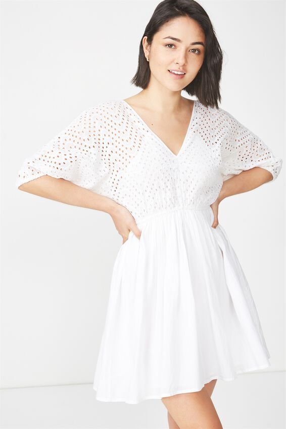 Woven Skylar Puff Sleeve Broderie Mini Dress, WHITE