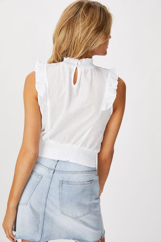 Femme Broiderie Frill Sleeveless Blouse, WHITE