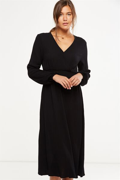 Woven Kaylee Long Sleeve Midi Dress, BLACK