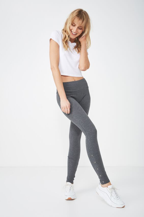 Tranquil Legging, CHARCOAL MARLE SNAPS