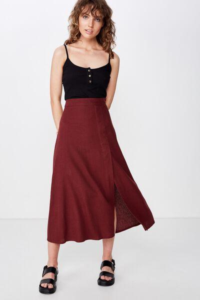 Woven Whitney Midi Skirt, RED MAHOGANY
