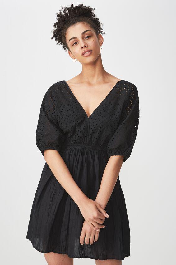 Woven Skylar Puff Sleeve Broderie Mini Dress, BLACK
