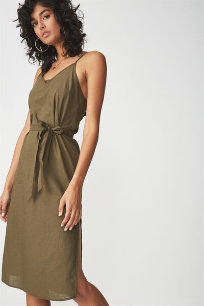 Woven Marce Midi Slip Dress, BEECH