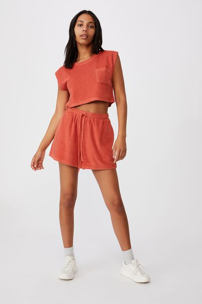 Terry Towelling Short, RED CLAY