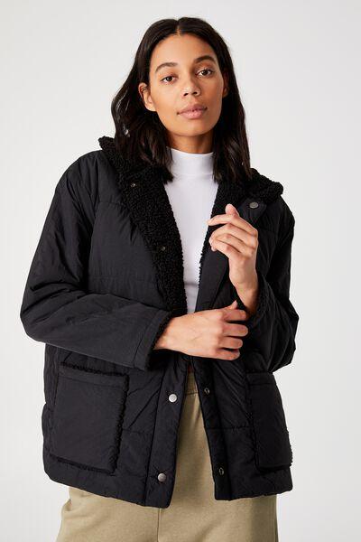 Reversible Recycled Teddy Cabin Fleece Jacket, BLACK