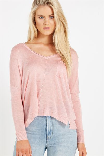 Minnie V Neck Fine Gauge, COSMETIC PINK MARLE