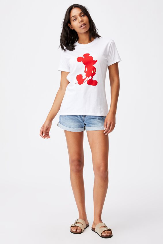Classic Cny Graphic License T Shirt, LCN DIS MICKEY RED/WHITE