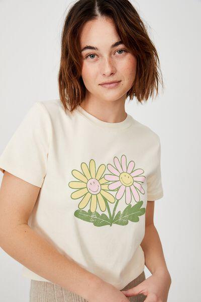 Rhi Rib Crop Graphic Tee, LCN SMI SMILEY TWIN FLOWERS/PASTRY