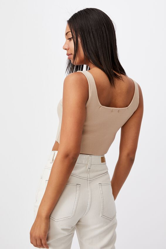 Square Neck Tank, WHITE
