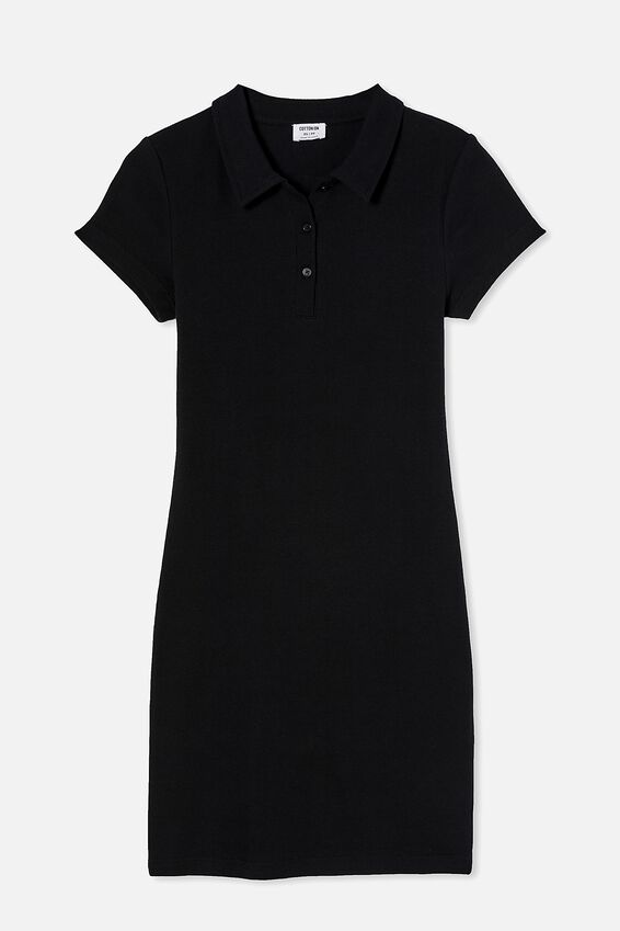 Riley Short Sleeve Polo Mini Dress, BLACK