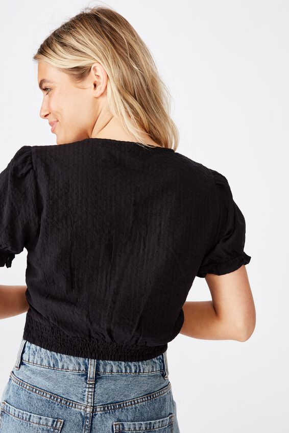 Lenny Puff Short Sleeve Top, BLACK