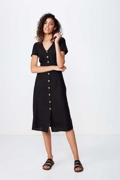 Woven Cherry Button Front S/S Midi Dress, BLACK- L