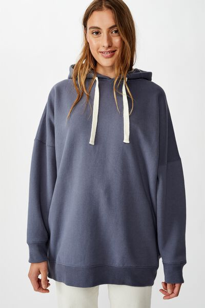 Longline Peached Hoodie, GRISAILLE
