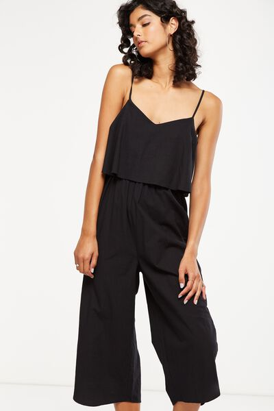 Woven Maddox Jumpsuit, BLACK TEXTURE