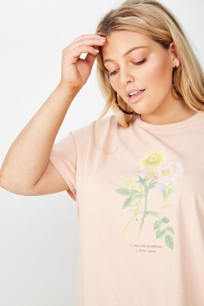 Curve Graphic Tee, ROSA/DUSTY PINK