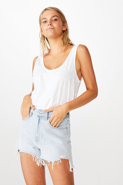 The Relaxed Scoop Tank, WHITE