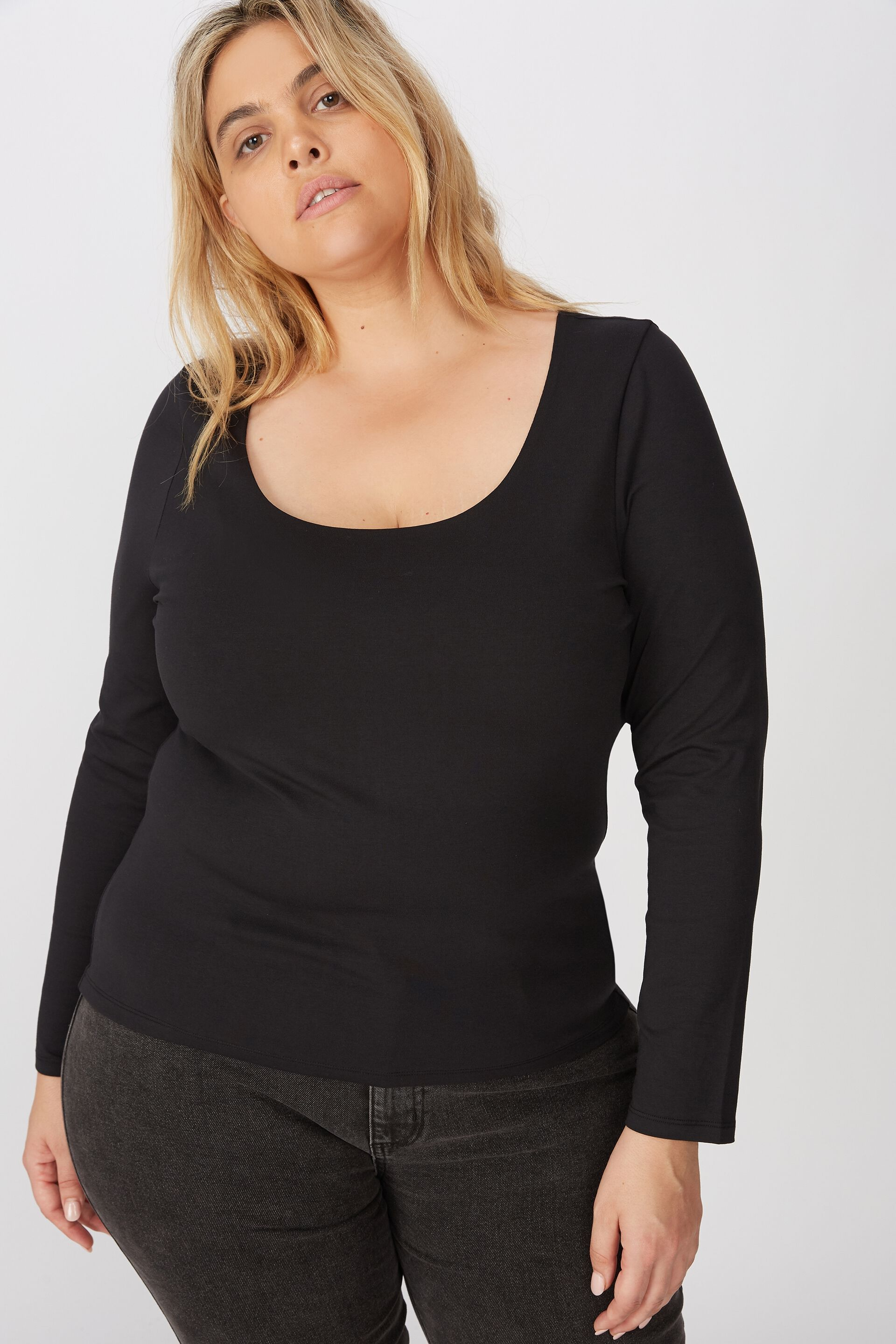 Curve Everyday Long Sleeve Scoop Top   Cotton On