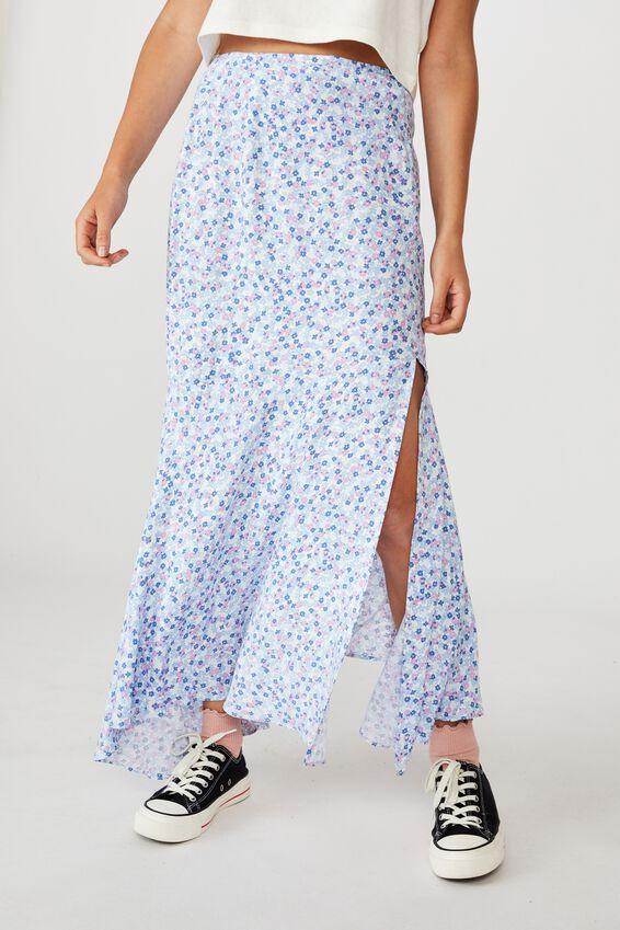 Tahli Split Midi Skirt, QUINN DITSY WHITE CORNFLOWER