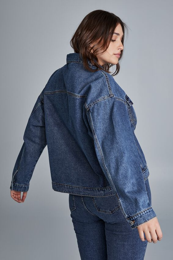 Curve 90S Baggy Denim Jacket, COOGEE BLUE