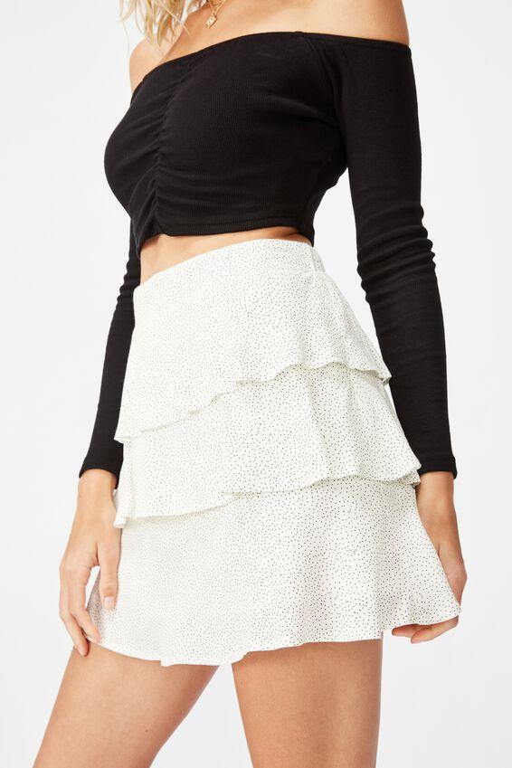 Byron Tiered Mini Skirt, ROSIE SPOT GARDENIA