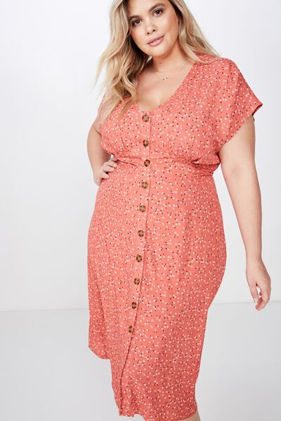 Curve Button Front Midi Dress, CARLY DITSY MINERAL RED