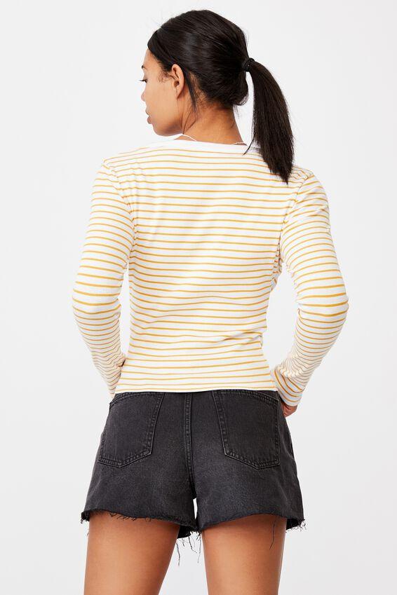 The Turn Back Long Sleeve Top, MIKI STRIPE WHITE/ DARK CALI YELLOW