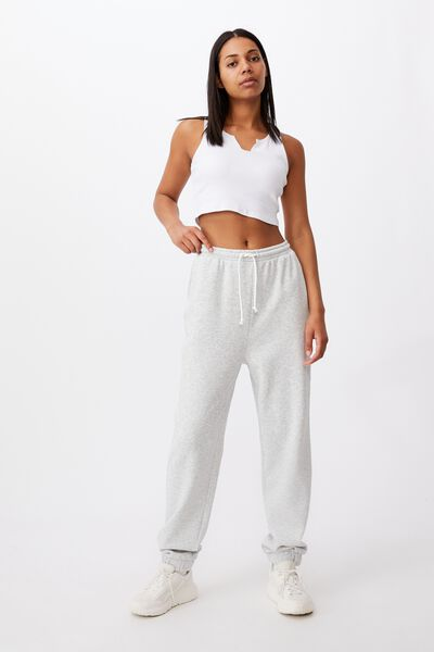 Super Slouch Track Pant, SOFT GREY MARLE
