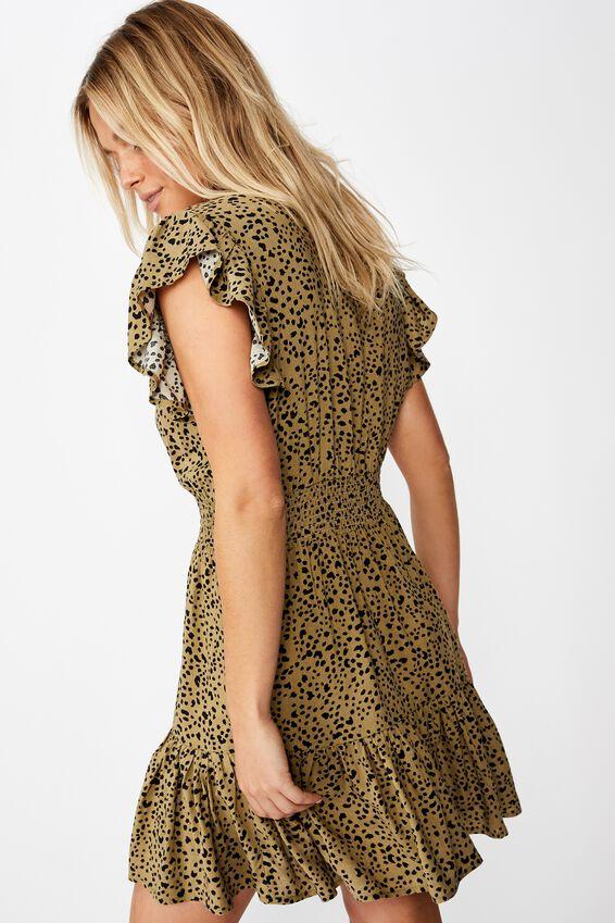Woven Anya Ruffle Mini Dress, PIPER ANIMAL LIGHT OLIVE BLACK
