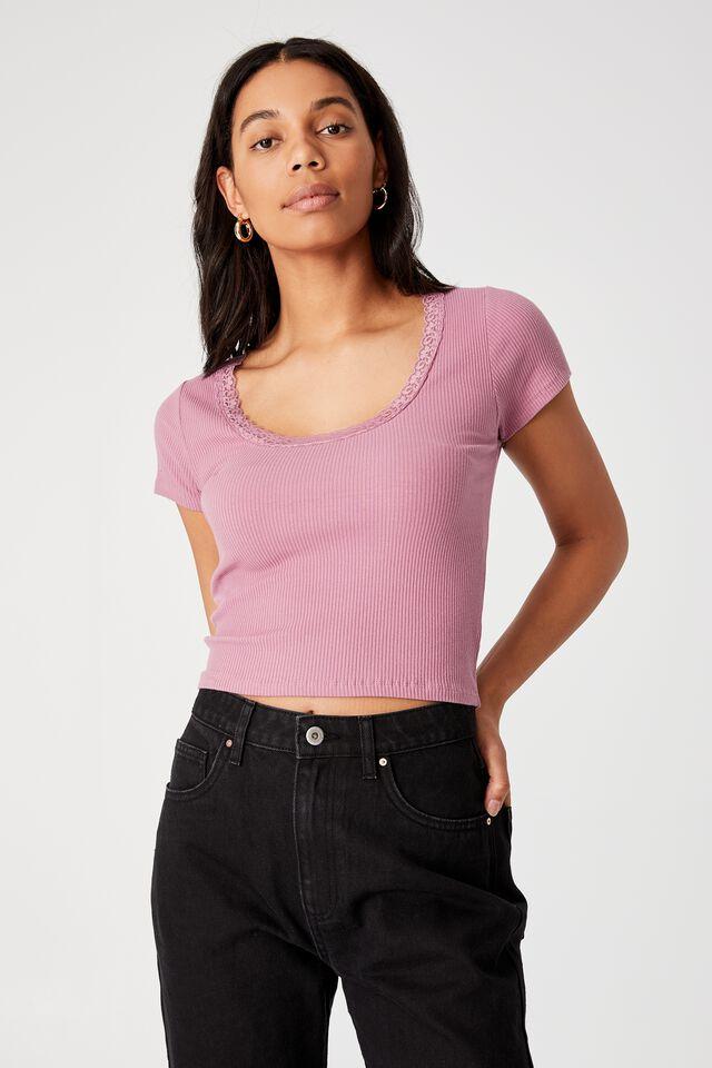 Luna Lace Trim Short Sleeve Top, DUSTY MAUVE