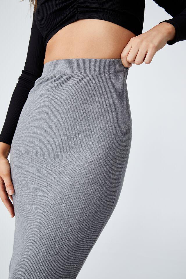 Essential Rib Tube Skirt, CHARCOAL MARLE