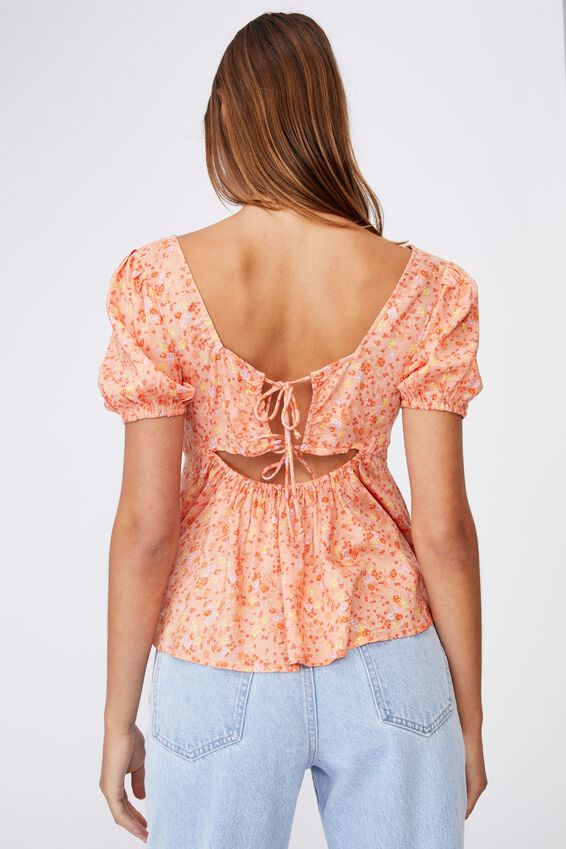 Maggie Tie Back Babydoll Blouse, LIBBY DITSY MELON