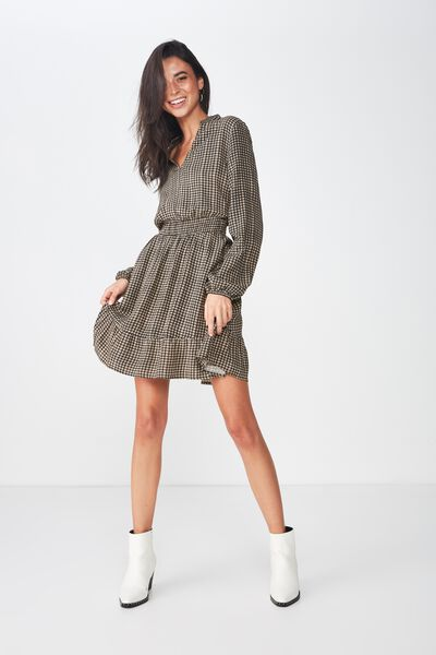 Woven Zilly Mini Smock Dress, ISSY CHECK BLACK
