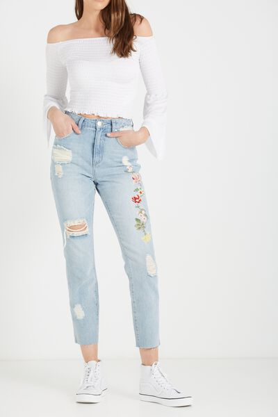 High Rise Relaxed 90S Jean, BOTANICAL EMBROIDERY BLUE RIPS