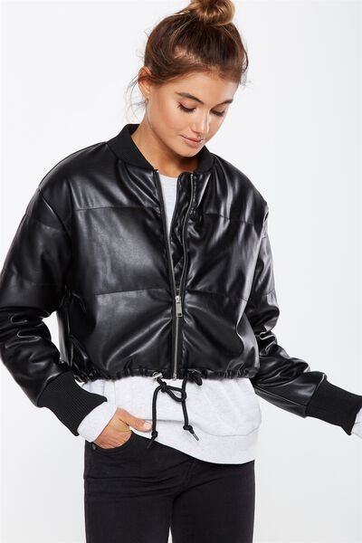 Chopped Puffer Bomber Jacket, BLACK PU