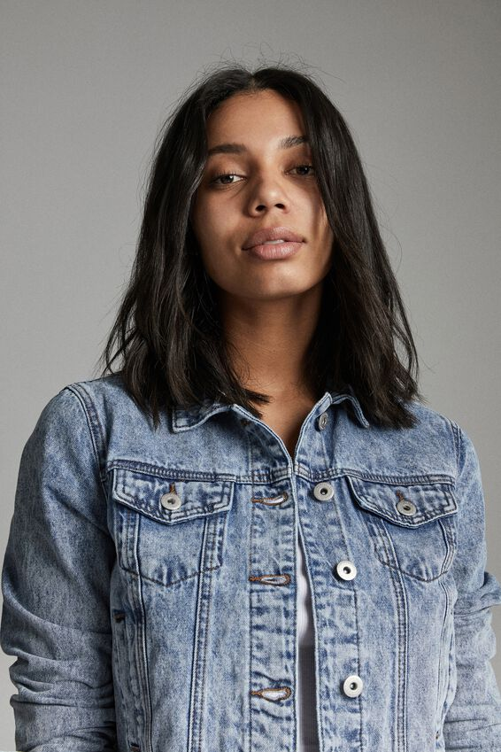 Girlfriend Denim Jacket, CABARITA BLUE