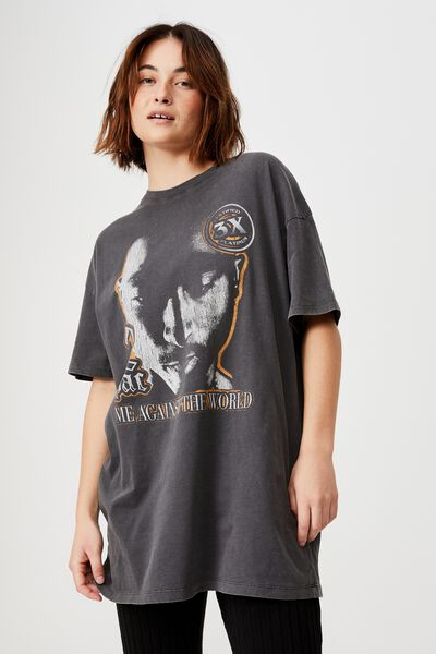 The Relaxed Boyfriend Graphic Tee, LCN BR TUPAC AGAINST THE WORLD/SLATE GREY