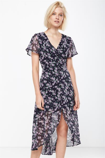 Woven Georgia Short Sleeve Maxi Dress, ELLA SPLICED FLORAL DEEPEST NAVY