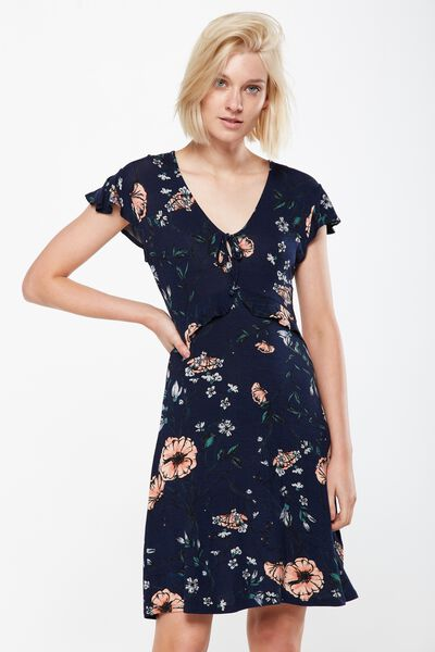 Rhiannon Short Sleeve Frill Mini Dress, FELICITY FLORAL MOOD INDIGO