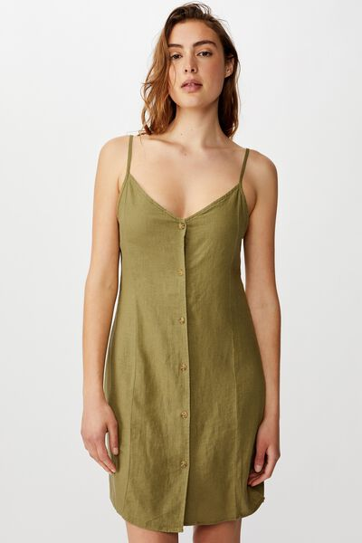 Woven Maisy Strappy Mini Dress, LIGHT OLIVE