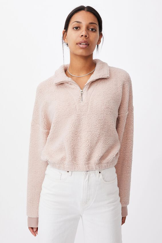 Cropped Teddy Zip Neck, SOFT PINK