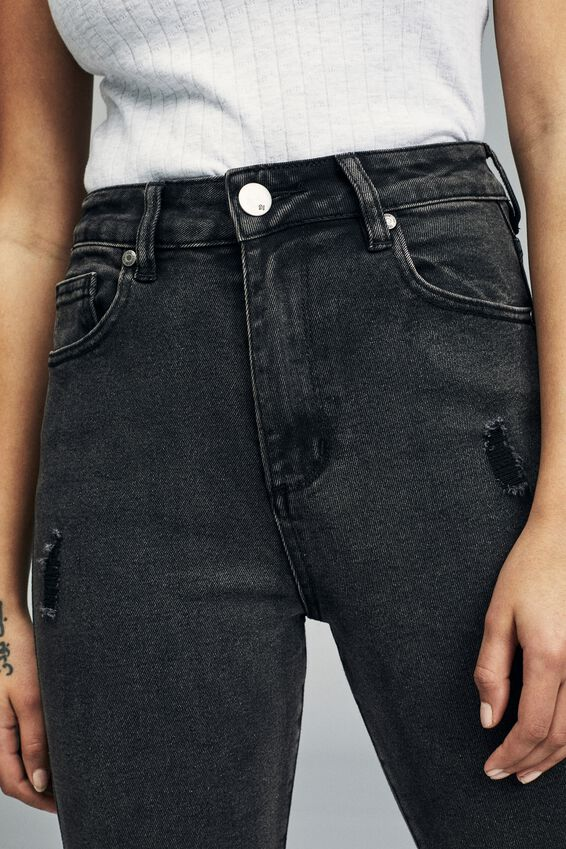 Stretch Mom Jean, WASHED BLACK RIPS
