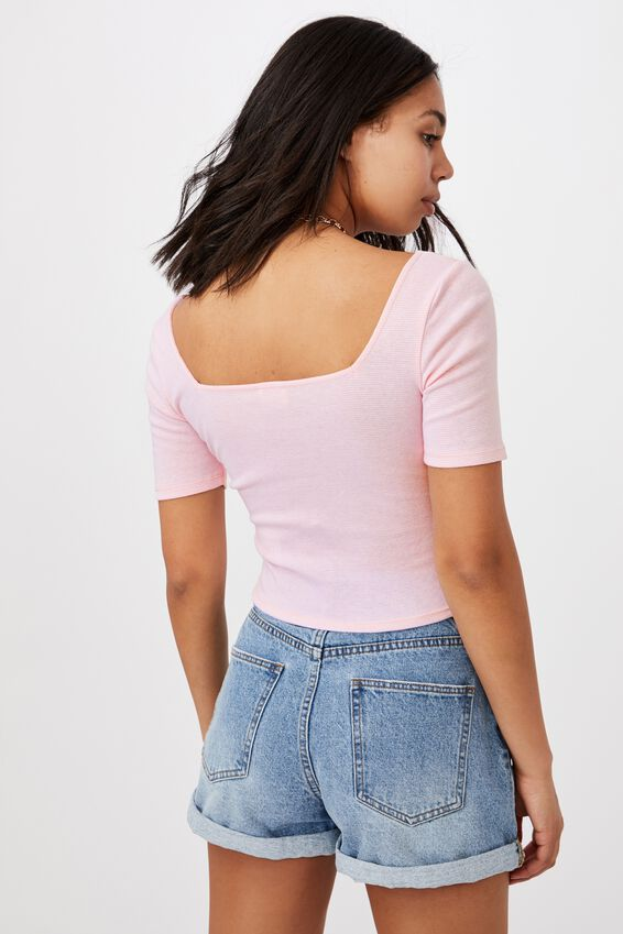 Cindy Square Neck Short Sleeve Top, MINI STRIPE WHITE/SWEETHEART PINK