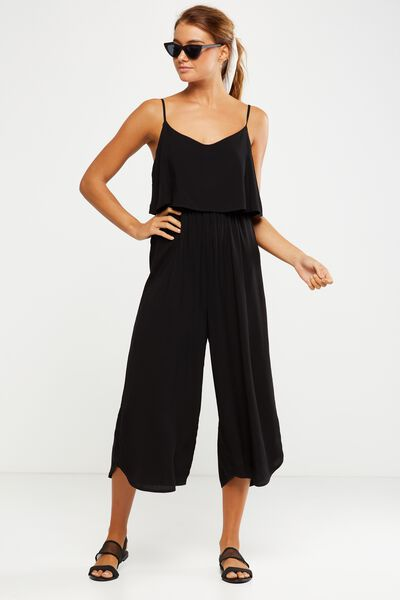 Woven Maddie Strappy Jumpsuit, BLACK