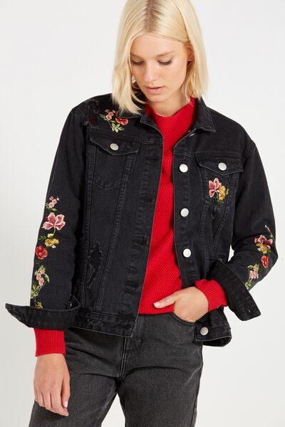 Boyfriend Trucker Floral Embroidered Denim Jacket, WASHED BLACK