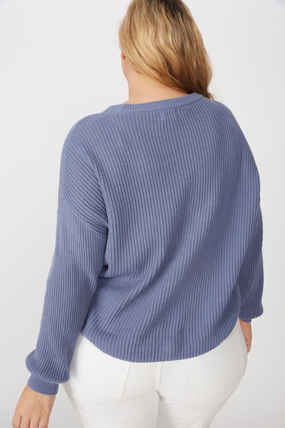 Curve Crop Pullover, COUNTRY BLUE