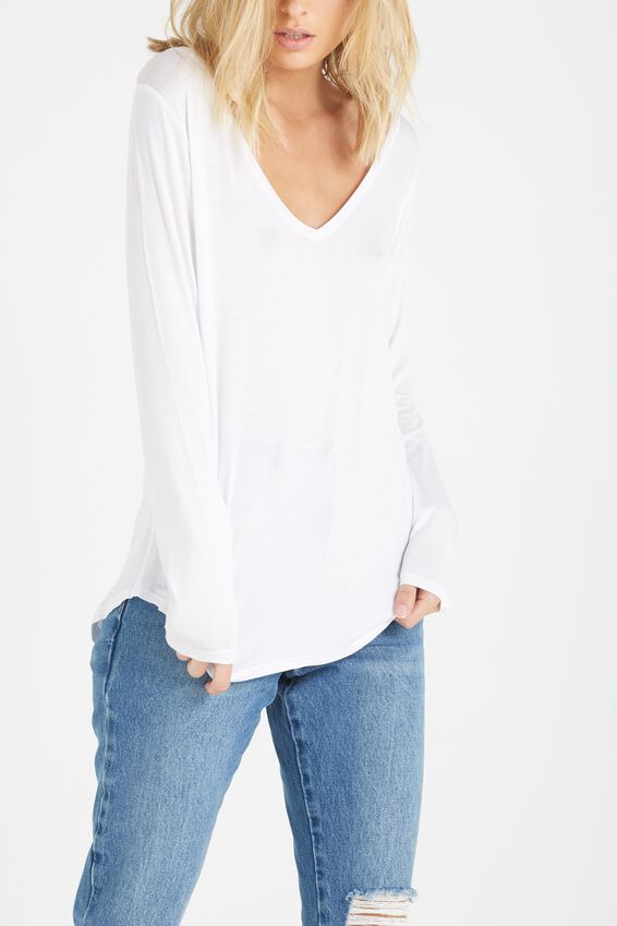 Keira Long Sleeve T Shirt, WHITE