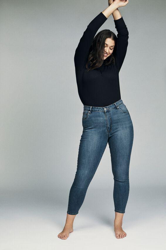 Curve Adriana High Crop Skinny Jean, BLUE