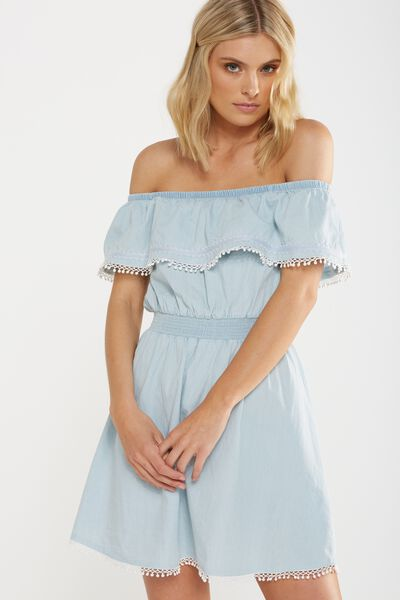 Woven Olena Off The Shoulder Dress, CHAMBRAY
