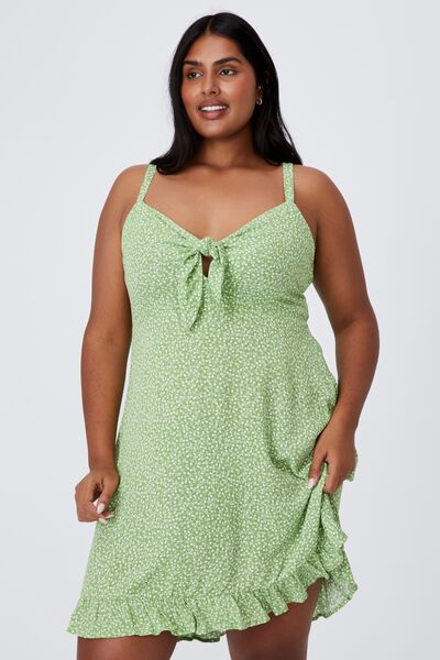 Curve Woven Kiara Tie Front Mini Dress, PHOBE DITSY APPLE GREEN